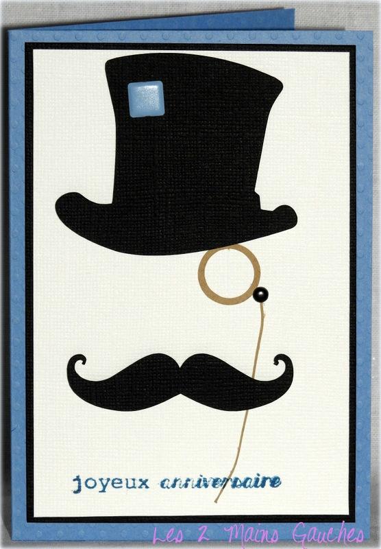 carte d'anniversaire masculine comme un gentleman au monocle