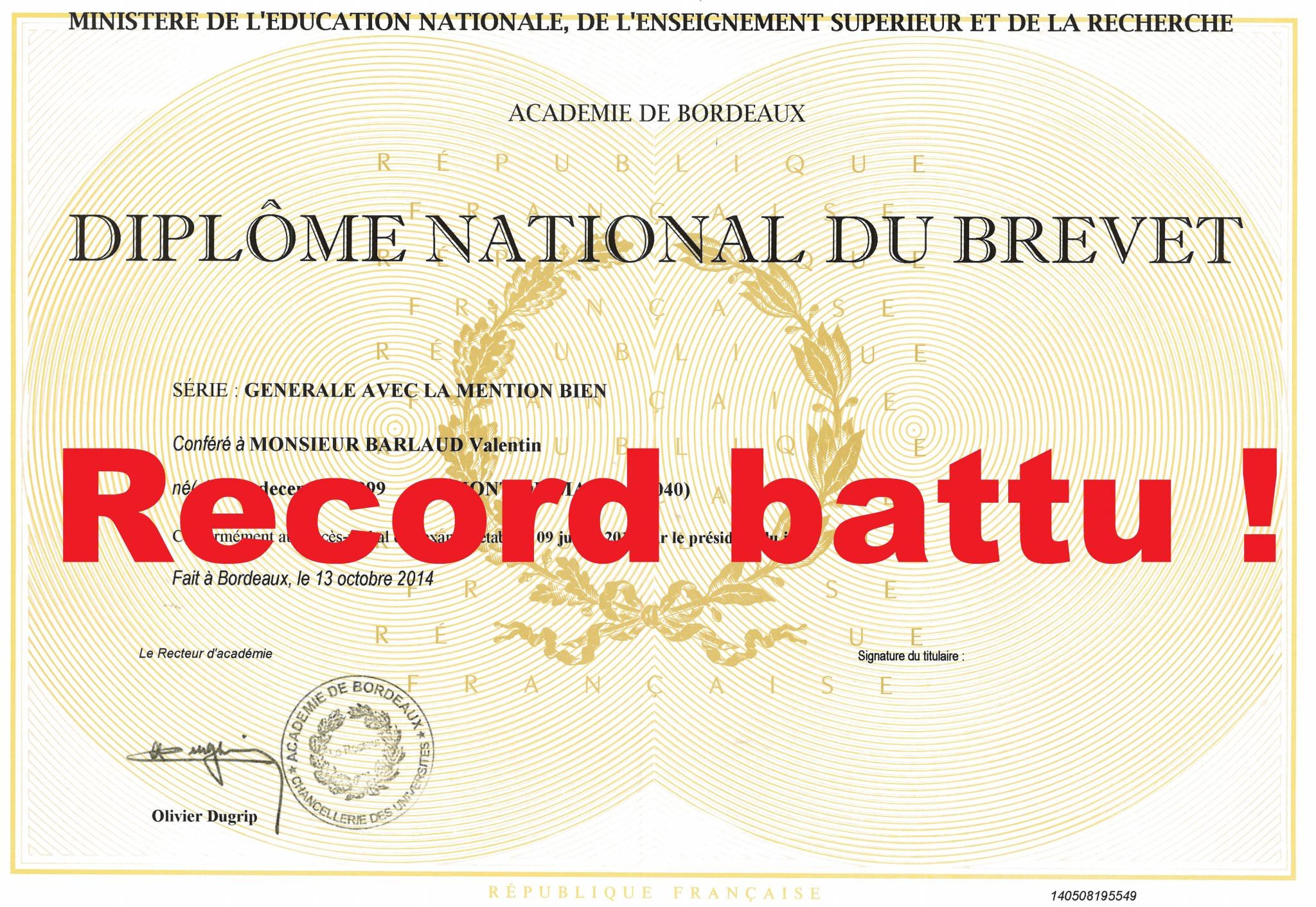 juillet 2015   tous re u00e7us au brevet des coll u00e8ges