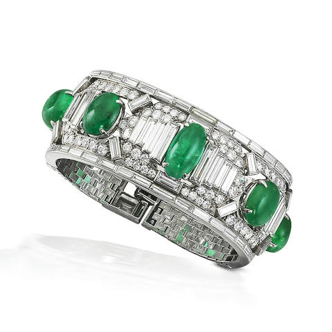 A fine art deco emerald and diamond cuff, by Cartier, circa 1925