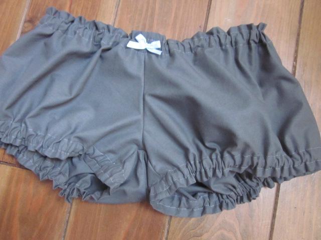 Culotte BIANCA en coton gris - Noeud vichy ciel (3)