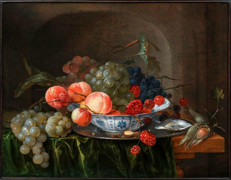 Jan Davidsz. De Heem (Utrecht 1606 - Antwerp 1683), Grapes and apples in a Wan-li dish with oysters on a stone ledge