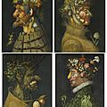 Workshop of giuseppe arcimboldo (milan 1527-1593), the four seasons: anthropomorphic allegories composed of fruits and plants