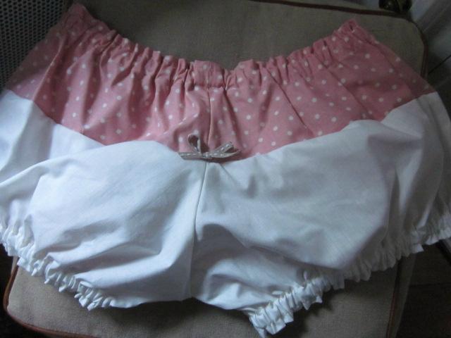 Culotte BIANCA en coton imprimé rose à pois - dos imprimé et uni écru - Noeud beige (4)