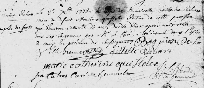 Henansal 2 décembre 1738 décès de Catherine ROHOU