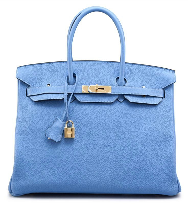 A 35 cm Blue Paradise Clemence Leather Birkin Bag, Hermès, 2014