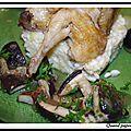 Cailles aux raisins et aux cepes sur lit de risotto