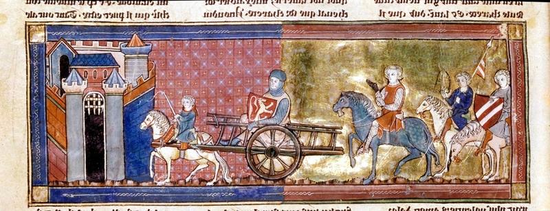 chrétien de troyes Lancelot-sur-une-charrette-conduite-par-son-écuyer-suivi-de-chevaliers