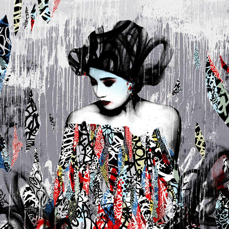 Art des geishas fa on street art avec hush for Art et artiste