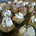 Minis cupcakes salés : tapenade verte - chèvre