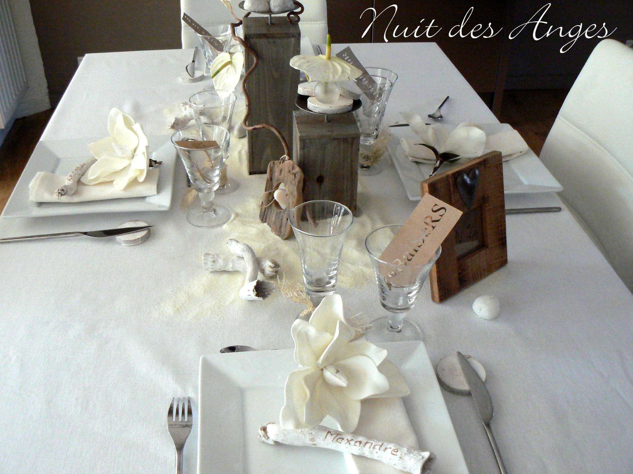 D coration de table bois flott nuit des anges - Decoration avec photo ...