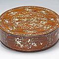 A wood circular covered box with mother-of-pearl inlay. Vietnam, 19th/early 20th century. 