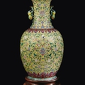 A large yellow-ground porcelain vase with storks and double pumkins-handles, china, qing dynasty,daoguang mark and period