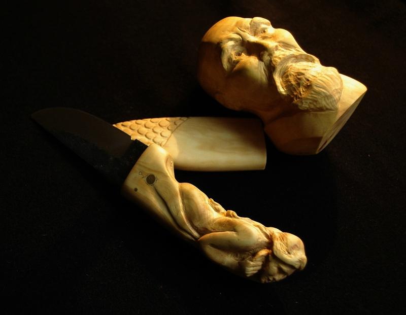 Fulbert DUBOIS sculpteur - couteau citadel manche sculpté buis (27)