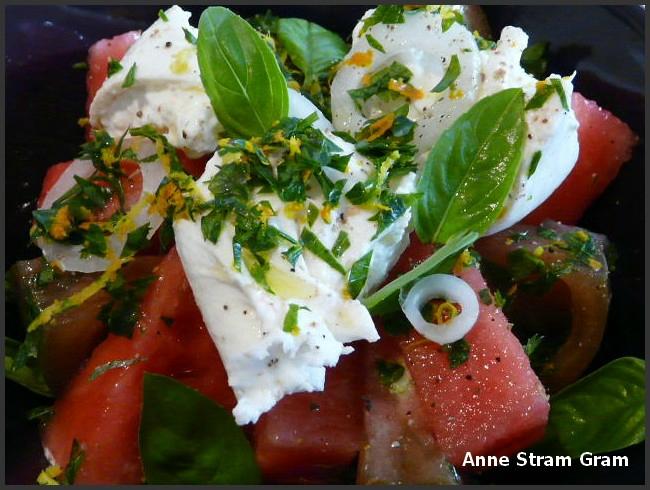 Salade tomate pastèque burrata