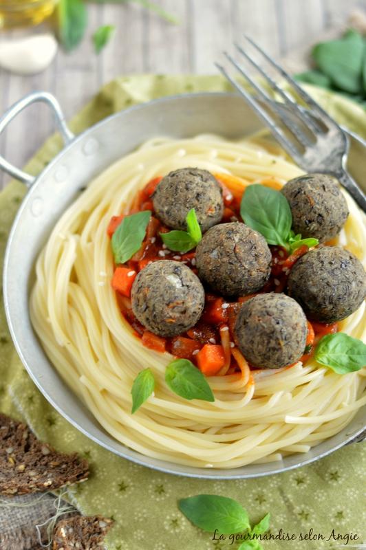 boulettes vegan lentilles noires - spaghetti 3