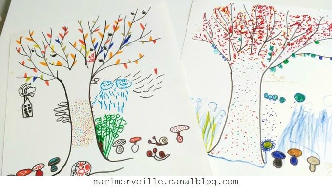 dessins d'enfants arbres automne - atelier marimerveille