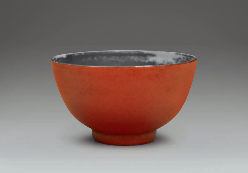 A small coral-ground bowl with silvered interior, Yongzheng six-character mark in underglaze blue within a double circle and of the period (1723-1735)