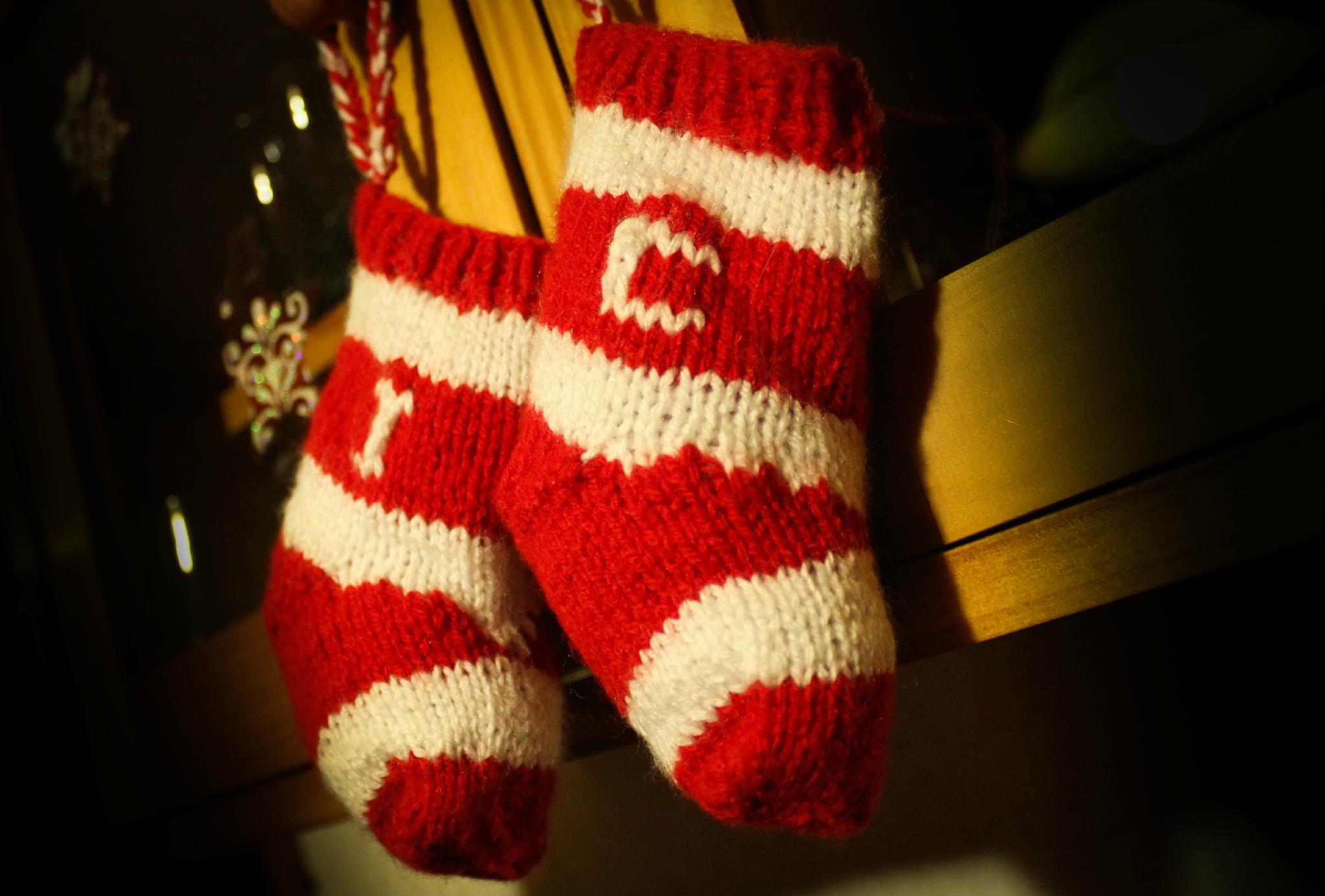 modele tricot chaussettes de noel
