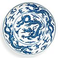 A rare blue and white 'dragon' dish, mark and period of jiajing