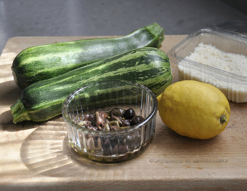 Salade courgettes planche