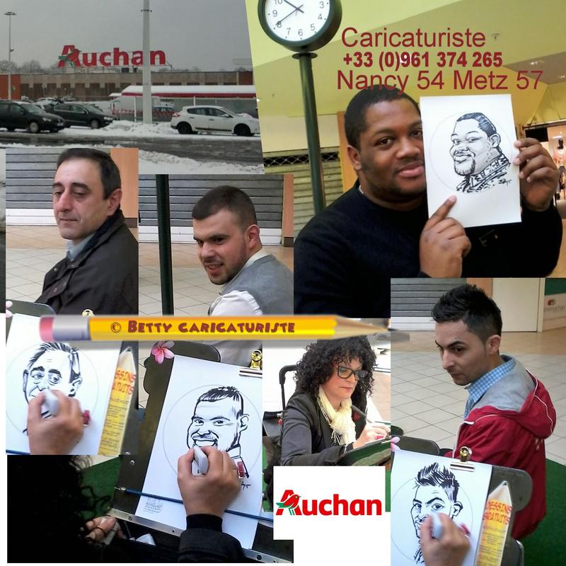 caricaturiste centre commercial AUCHAN NANCY LAXOU METZ