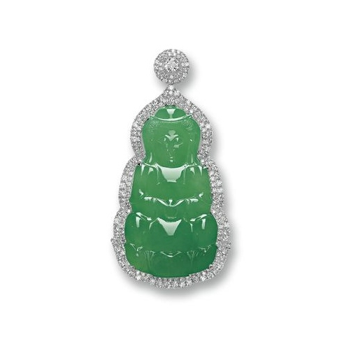 Jadeite 'Guan Yin' and Diamond Pendant