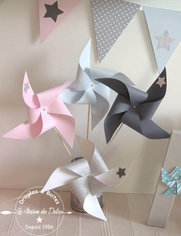 moulin fanions theme etoile decoration bapteme babyshower rose bleu gris