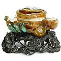 A fine agate 'lotus' waterpot, qing dynasty, qianlong period