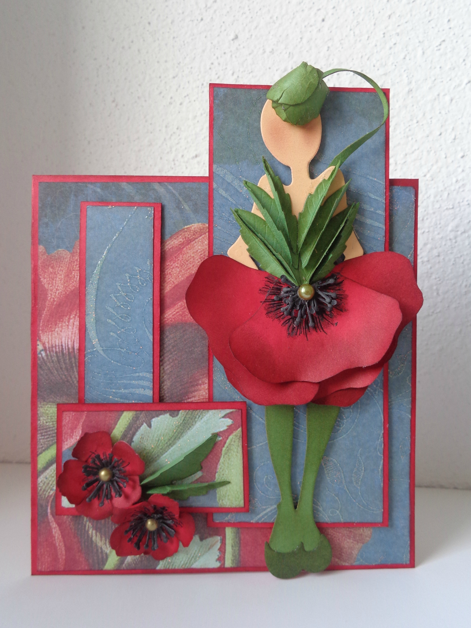 "Carte double ""miss Coquelicot"""
