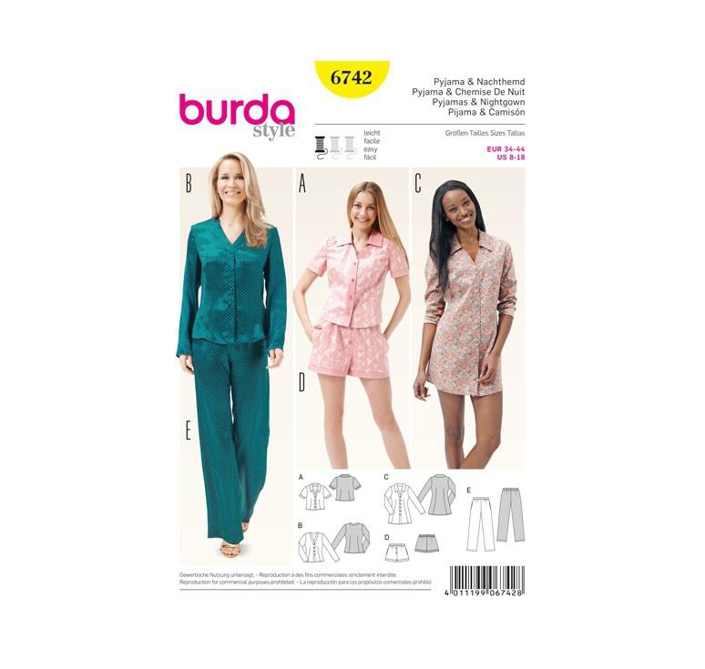 patron-burda-6742-pyjama-chemise-de-nuit-taille-34-44