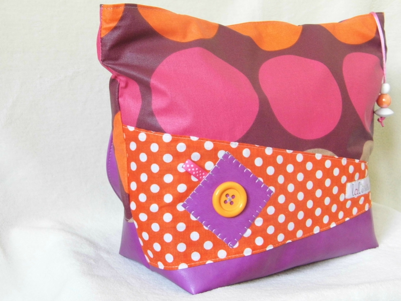 Sac trapèze orange rose violet (2)