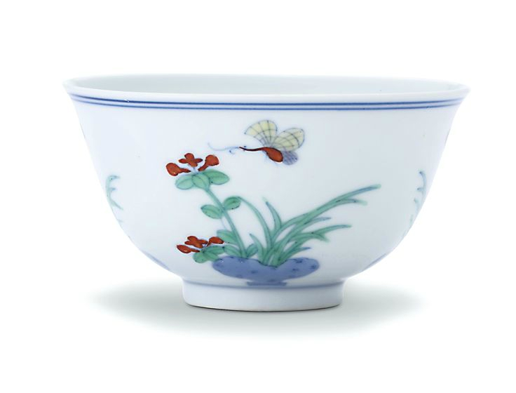 A fine doucai 'Flower and Butterfly' wine cup, Qing dynasty, Kangxi period
