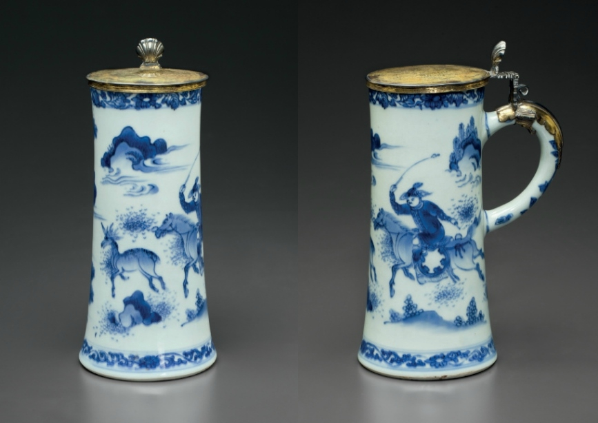 A silver-gilt-mounted blue and white tankard; the porcelain Chongzhen period, circa 1640, the mounts continental, late 17th cent