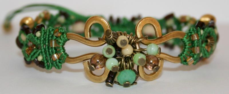 Bracelet macramé Vert et Laiton face 2