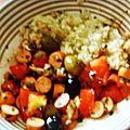 Salade de riz pilaf et saucisses