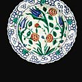An iznik polychrome pottery dish, turkey, 16th century