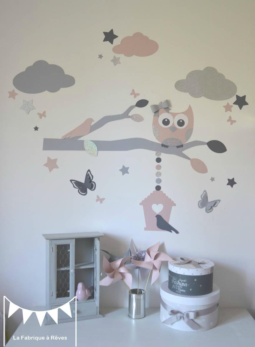 stickers décoration chambre enfant fille bébé branche cage à oiseau hibou chouette oiseaux papillons étoiles rose poudré gris argenté