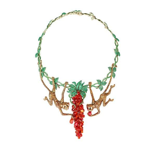 Chopard white and pink gold necklace with emeralds for Chopard animal world jewelry collection