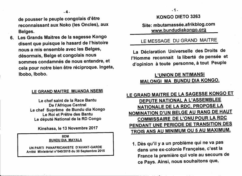 NOMINATION D'UN BELGE AU RANG DE HAUT COMMISSAIRE DE L'ONU POUR LA RDC a