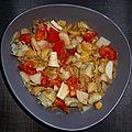 Salade froide de féves cassées cœur de palmier artichaut tomate et pâté de thon