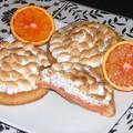 Tartelettes à l'orange sanguine, meringuées au pavot