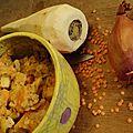 Lentilles corail, panais, lait de coco