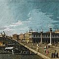 Circle of bernardo bellotto. venice, a view along the molo, looking west, towards the punta della dogana