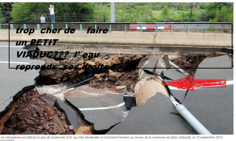 A75 détruite par un cours d'eau