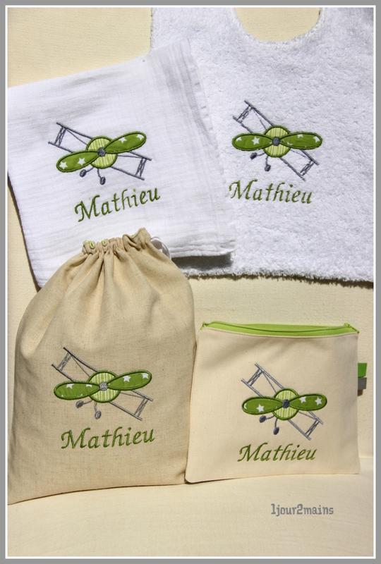kit naissance Mathieu biplane vert