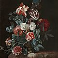 Willem van aelst (delft 1627 – 1683), a still life with roses, tulips and other flowers resting on a ledge