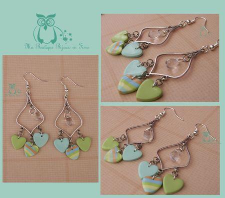 boucles aux trois coeurs turquoise