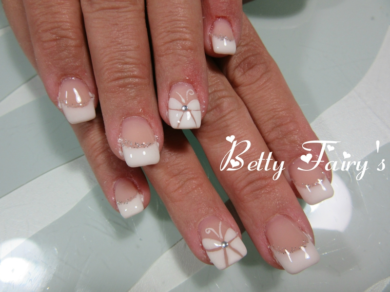 French blanche paillette argent gel mask f erique jusqu 39 au bout des ongles - Ongle gel french blanche ...