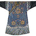 An embroidered blue-ground 'nine dragon' robe, jifu, qing dynasty