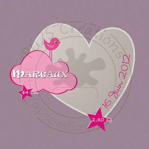 Faire part coeur fd mauve MARGAUX logo